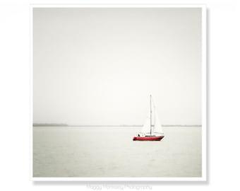 Sailboat Art, Sailing Decor, Bathroom Art Print, Red Sailing Art, Nautical Decor, Sail Boat Print, Sailboat Photograph