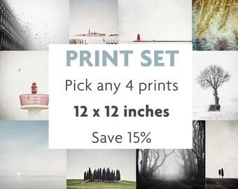 Set of 4 Prints, Choose Your Own Set, Print Set, Fits IKEA RIBBA, Gallery Wall Art, Set of 4 Prints, Wall Art Print Set, 12x12
