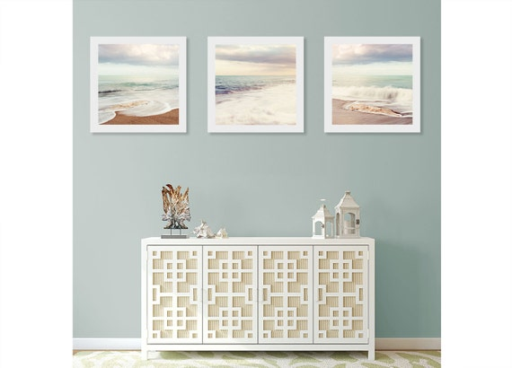 Beach Wall Art Print Set Art For Bathroom Ocean Wall Decor | Etsy