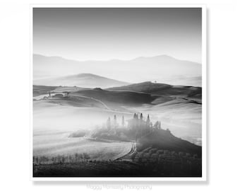 Tuscany Art Print, Black & White Tuscany Photography, Classic Tuscan Decor, Living Room Wall Art Prints or Housewarming Gift, Italy Art