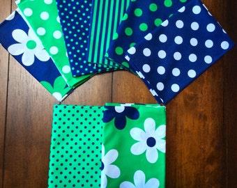Michael Miller Fabrics Greens and Blues, Assortment of 5 Yards