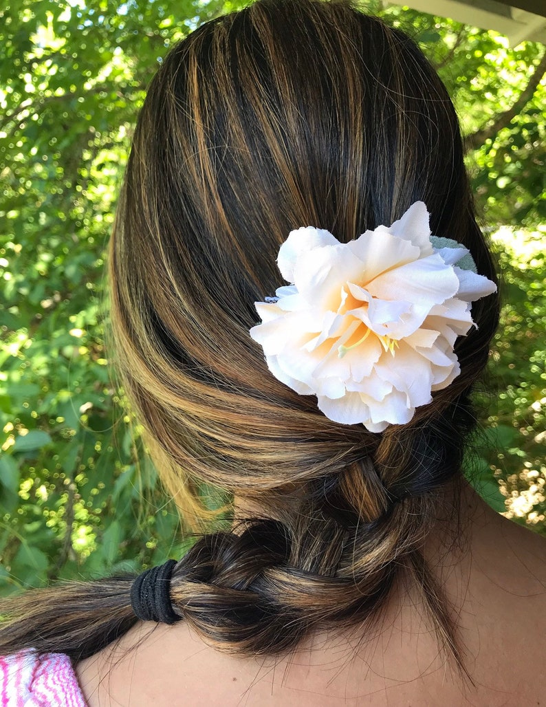 Hibiscus Hair Combs Creme Bridal Floral Hair Accessories Etsy