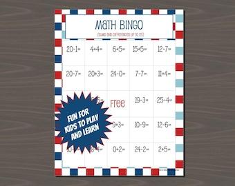 Math Bingo for Kids, Addition Bingo, Subtraction Bingo, Bingo for 1st and 2nd Graders, Instant Download, Includes 24 Bingo Cards