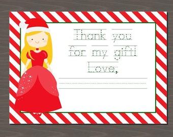 Christmas Card with Princess, Princess Christmas Card for Kids, Printable Christmas Card for Kids