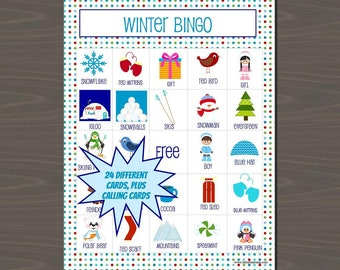 Winter Games for Kids, Winter Bingo Game, Class Set of Winter Bingo (Set of 24 Different Cards), Includes Calling Cards