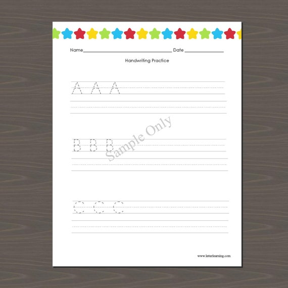 Handwriting And Alphabet Practice Sheets Learn The ABCs Etsy
