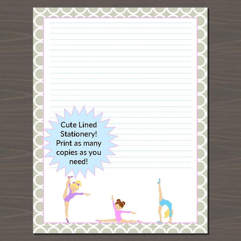 photograph relating to Lined Stationery Printable referred to as Gals Protected Stationery, Included Stationery Paper Printable, Gymnastics Covered Printable Paper, 8.5\