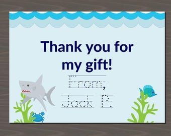 Shark Thank You Notes, Shark Stationery, Shark Note Cards, Custom Thank You Cards with Sharks, Digital or Print, Underwater Thank You Cards