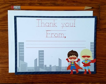 Superhero Thank You Card with Traceable Message for Young Kids, Set of 12 Thank You Notes with Superheroes, boy and girl superhero note card