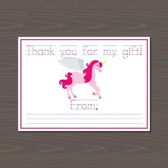 Unicorn Printable Thank You Note Fill in the Blank Unicorn | Etsy