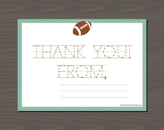 Football Thank You Notes, Thank You Football, Football Thank You, Sports Thank You Notes, Boy Thank You Notes, Fill in the Blank Thank U