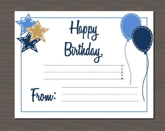 Happy Birthday (Blank) Note Cards, Fill in the Blank Birthday Notes for Kids, Gift Tags with Guide lines, Present Tags (Set of 12)