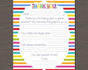 Teacher thank you etsy teacher appreciation printable kids letter altavistaventures Choice Image