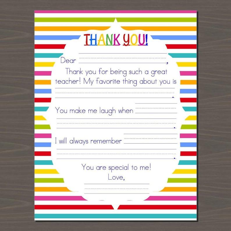 teacher appreciation printable kids letter to teacher  etsy