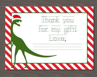 Cute Christmas Dinosaur Card, Printable Christmas Card with Dinos, Cute Christmas Card for Boys