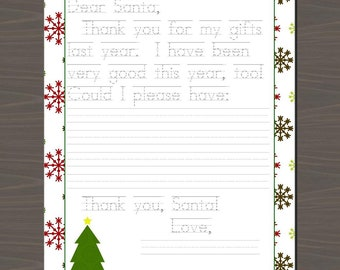 Letter to Santa with Traceable Letters, Kids Letter to Santa to Trace, Personalized Printable Letter to Santa