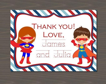 Superhero Stationery, Superhero Twins Stationery, Superhero Invitations, Superhero Twin Note, Twin Superhero Cards | Print or Digital
