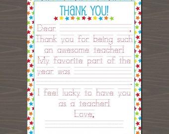 Teacher Appreciation Printable Letters (3 Versions Included), Cute Teacher Appreciation Note, Traceable Teacher Letter, End of Year Letters