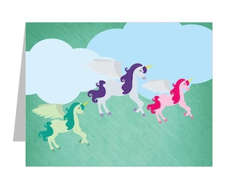 Unicorn Lined Stationery, Lined Note Card with Unicorns, Pretty Unicorn Lined Notecards (Includes 12 Note Cards)