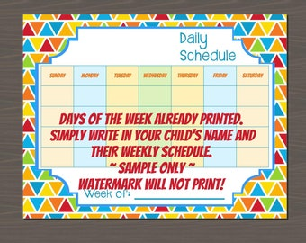 Kids Daily Schedule Template, Printable Schedule for Kids, Easy to Use and Keep Kids Organized, Digital File