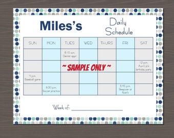 Weekly Schedule Template for Kids, Kid Daily Calendar, Easy to Use Kid Weekly Agenda, Kid's Weekly Planner - Digital Download