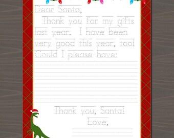 Christmas Letter to Santa, Dear Santa Note, Printable Santa Note, Santa Letter with Dinosaur, Printable Letter to Santa