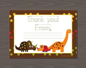 Dinosaur Thank You Notes, Dinosaur Stationery, Fill In The Blank Dinosaur, Dinosaur Thank You Cards, Triceratops, Brontosaurus, Dinos