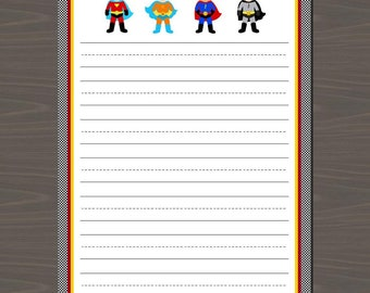 Lined Superhero Note Cards, Superhero Stationery Set, Printable Superhero Thank You Notes