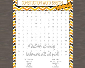Construction Party Activity Pack, Construction Party Favor, Fun Construction Party Packet | Fun Games for Construction Parties (6 pps incl)