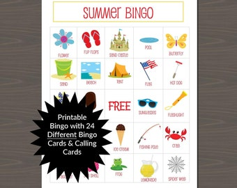Summer Bingo Game with 24 Cards and Calling Cards