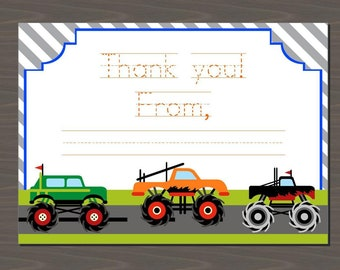 Monster Truck Thank You notes, set of 12, Monster Truck note cards, traceable thank you notes for kids with truck, truck thank you cards