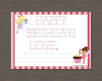 Cupcake Birthday Cards, Fairy Birthday Cards, Birthday Cards for Kids, Cupcake Stationery, Pink Stripes, Red Stripes, Fairy and Cupcake Card