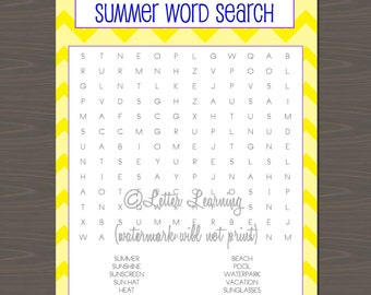 Summer Game/Activity Packet, 6 Pages of Summer Themed Games for Kids to Play