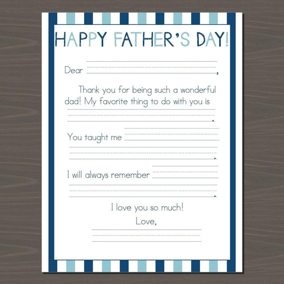 image regarding Father's Day Fill in the Blank Printable named Adorable Fathers Working day Fill in just the Blank Printable Card Prompt Down load Fathers Working day Letter