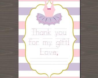 Ballerina Thank You Notes, Ballet Thank You Notes Set of 12, Ballerina Thank You Cards, Ballet Thank You Notes, Set of 12 Ballet Cards,