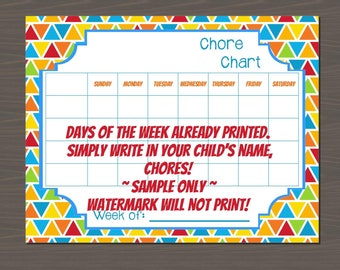 Chore Chart for Kids, Simply Print and Write in Your Information, Easy Chore Chart for Kids (2 Versions Included)