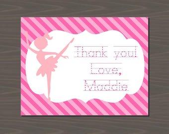 Pink Ballerina Invitations, Ballet Invitations, Ballet Thank You Cards, Ballerina Thank You Cards, Pink Ballet Stationery | Digital or Print
