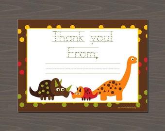 Dinosaur Thank You Card, Dinosaur Thank You Notes, Dinosaur Stationery, Dinosaur Stationary, Printable Dinosaur Cards   Digital or Print  