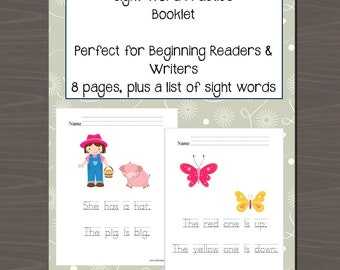 Sight Word Printable, Printable Sight Word Booklet, Kindergarten Sight Words, ESOL Sight Words, LD Sight Words,  Instant Download