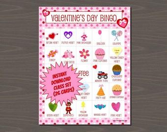 Valentine's Day Bingo - Class Set of Valentine Bingo (Instant Download), Includes 26 Different Cards, Plus Calling Cards