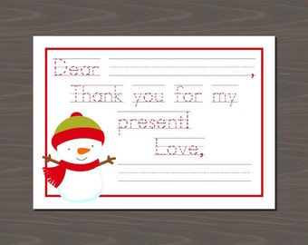 Christmas Thank You Cards, Snowman Thank You Cards for Kids, Christmas Thank You Notes for Kids, Christmas Thank You Kids, Holiday Thank You