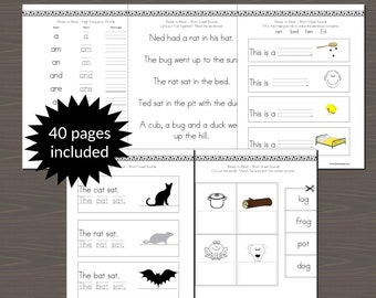 Early Reader Practice Pages with a focus on Short Vowel Sounds, Basic Reading and Writing Practice Book (40 Pages Included)