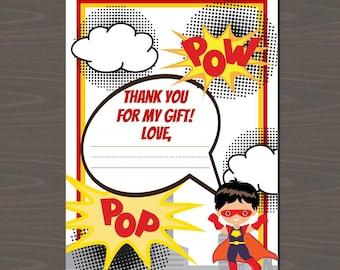 Superhero Thank You Notes, Comic Book Thank You, Superhero Stationery, Superhero Thank You (12 Cards and Envelopes Included)