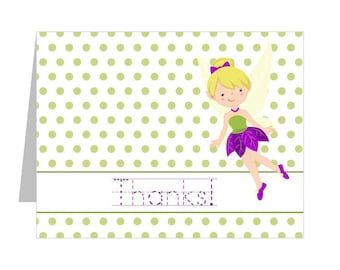 Fairy Thank You Note Cards, Fairy Party Supplies, Fairy Thank You Set of 12 Cards, cute fairies thank you notes, fairy note cards for kids