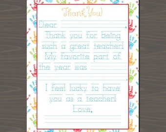 Teacher Appreciation Letters (3 Versions Included), End of Year Teacher Appreciation Printable Notes, Letter to a Teacher | Instant Download