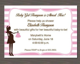 Pink Stripe Baby Shower Invitation, Baby Girl Announcement, Baby Girl Note Cards, Baby Girl Stationery, Baby Stationary | Digital or Print
