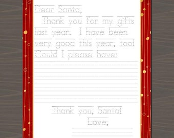 Letter to Santa with Traceable Words, Print Your Letter to Santa, Children's Traceable Letter to Santa, Letter to Santa from Your Child