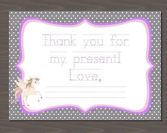 Unicorn Thank You Cards, Unicorn Thank You Notes, Unicorn Stationery Set, Unicorn Fill in the Blank Cards | 12 Card Set | Unicorn Thank You