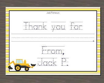 Truck Thank You Card, Construction Thank You Card | Digital or Print | Truck Thank You Notes, Construction Thank You Notes, Digger Thanks