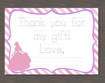 Princess Printable Fill in the Blank Thank You Notes, Personalize with Your Child's Name and Custom Traceable Message, Princess Stationery